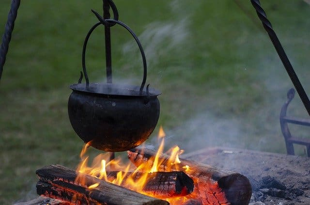 cooking food over a campfire