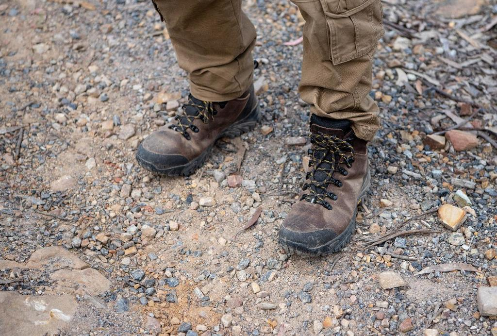 A man wearing walking boots